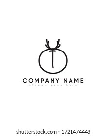 Creative modern letter T with deer silhouette logo template, Vector logo for business and company identity