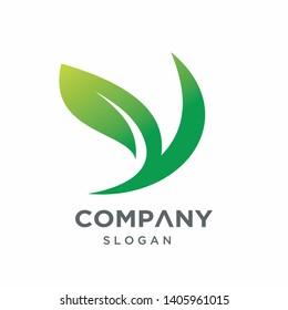 Creative Modern Letter Y Logo Template, Go Green Logo Design, Y Leaf