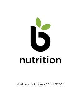 Creative modern Logo design for B nutrition sign template.