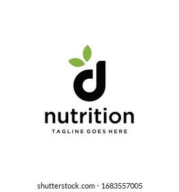Creative modern Logo design for D nutrition sign template.