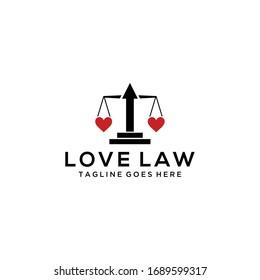 Creative modern love law balance sign logo design template.