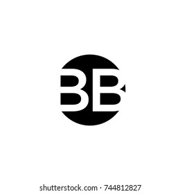 Creative modern minimal circular shaped fashion brands black and white color BB B initial based letter icon logo.