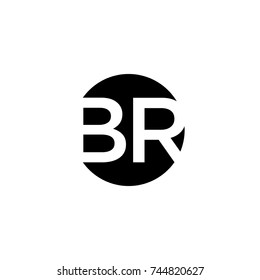 Creative modern minimal circular shaped fashion brands black and white color BR RB B R initial based letter icon logo.