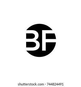 Creative modern minimal circular shaped fashion brands black and white color BF FB B F initial based letter icon logo.