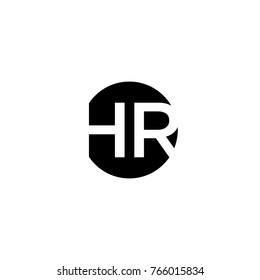 Creative modern minimal circular shaped fashion brand black and white color HR RH H R initial based letter icon logo.