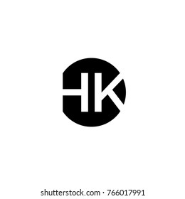 Creative modern minimal circular shaped fashion brand black and white color HK KH H K initial based letter icon logo.