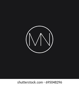 Creative modern minimal clean connected circular shaped business brands black and white color MN NM M N initial based letter icon logo.