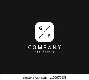 Creative Modern Minimal Tech GF Letter Logo