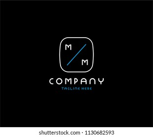 Creative Modern Minimal Tech MM Letter Logo