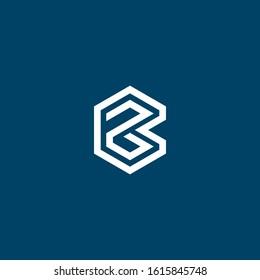 Creative modern Minimalist letter BZ logo design vector