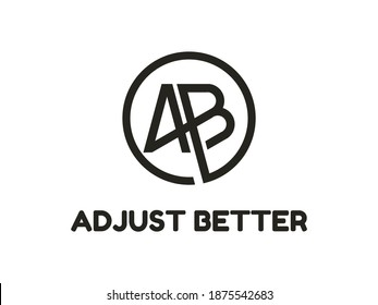Creative Modern Monogram Logo Letter A B in Circle. Vector Simple Luxury Initial Design