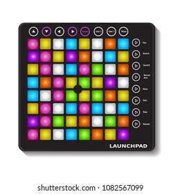 Creative modern musical instruments concept launchpad vector.