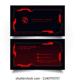 Creative modern name card and business card with the design concept of sci-fi, hi-tech style and dark Red color theme, horizontal standard size, vector and illustration EPS10 template