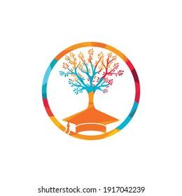 Creative modern nature Education logo design. Graduation cap and tree icon logo.