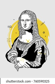 Creative modern painting. T-Shirt Design & Printing, clothes, bags, posters, invitations, cards, leaflets etc. Vector illustration hand drawn. Mona Lisa - Gioconda by Leonardo da Vinci