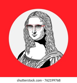 Creative modern painting. T-Shirt Design & Printing, clothes, bags, posters, invitations, cards, leaflets etc. Vector illustration hand drawn. Mona Lisa - Gioconda by Leonardo da Vinci. Hipster