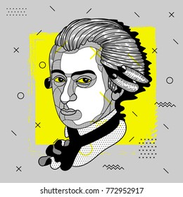 Creative modern portrait of composer and musician Wolfgang Amadeus Mozart. T-Shirt Design & Printing, clothes, bags, posters, invitations, cards, leaflets etc.  Vector illustration hand drawn.