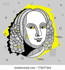 Creative modern portrait of composer and musician Antonio Lucio Vivaldi. T-Shirt Design & Printing, clothes, bags, posters, invitations, cards, leaflets etc. Vector illustration hand drawn.