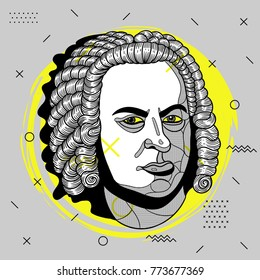 Creative modern portrait of composer and musician Johann Sebastian Bach. T-Shirt Design & Printing, clothes, bags, posters, invitations, cards, leaflets etc. Vector illustration hand drawn.
