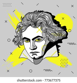 Creative modern portrait of composer and musician Ludwig van Beethoven. T-Shirt Design & Printing, clothes, bags, posters, invitations, cards, leaflets etc. Vector illustration hand drawn.