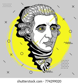 Creative modern portrait of composer and musician. T-Shirt Design & Printing, clothes, bags, posters, invitations, cards, leaflets etc. Vector illustration hand drawn. Franz Joseph Haydn