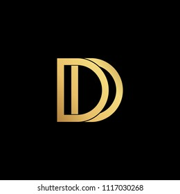 Creative modern professional artistic gold color D DD initial based Alphabet icon logo on black background.
