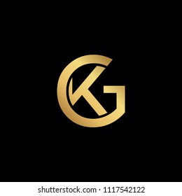 Creative modern professional unique artistic gold color GK KG initial based Alphabet icon on black background