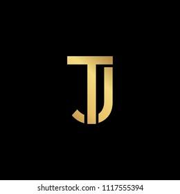 Creative modern professional unique artistic gold color JT TJ initial based Alphabet icon on black background