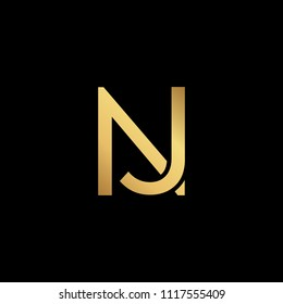 Creative modern professional unique artistic gold color JN NJ initial based Alphabet icon on black background