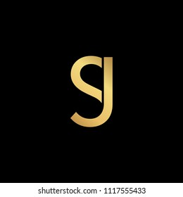 Creative modern professional unique artistic gold color JS SJ initial based Alphabet icon on black background