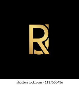 Creative Modern Professional Unique Artistic Gold Color JR RJ Initial Based Alphabet Icon On Black Background
