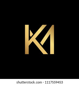 Creative modern professional unique artistic gold color KM MK initial based Alphabet icon on black background