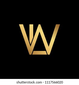 Creative modern professional unique artistic gold color LW WL initial based Alphabet icon on black background