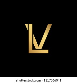 Creative modern professional unique artistic gold color LV VL initial based Alphabet icon on black background