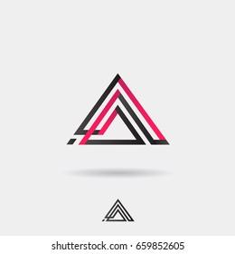 Creative modern pyramid logo. Triangle shape vector abstract symbol