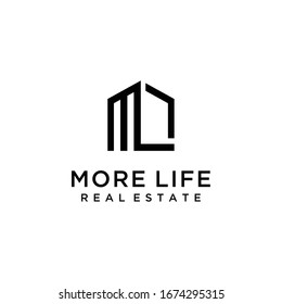 Creative modern style house WITH M,L sign logo design template