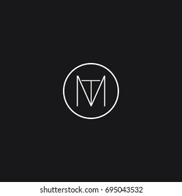 Creative modern stylish connected circular shaped artistic black and white color MT TM M T initial based letter icon logo.