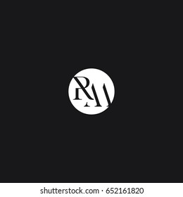 Creative modern stylish unique connected geometric rounded artistic black and white RM MR R M initial based letter icon logo.