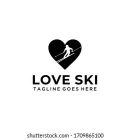 Creative modern symbol ski sport  logo design template element