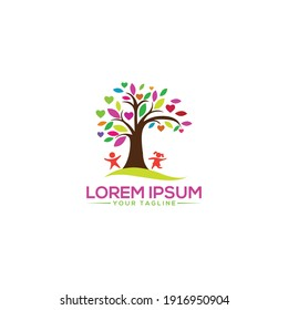 Creative Modern Tree logo Abstract  with Happiness for baby tree