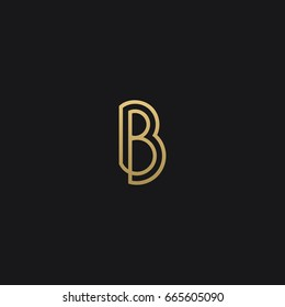 Creative modern trendy unusual unique artistic black and gold color B initial based letter icon logo.