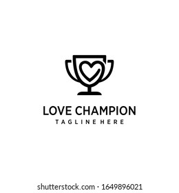 Creative modern trophy logo with heart  icon vector template