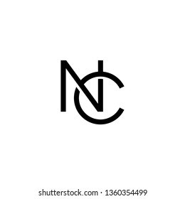 Creative modern unique elegant minimal artistic black and white color NC CN N C initial based letter icon logo. - Vector