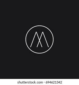 Creative modern unusual connected artistic black and white color AA M A MA AM initial based letter icon logo.