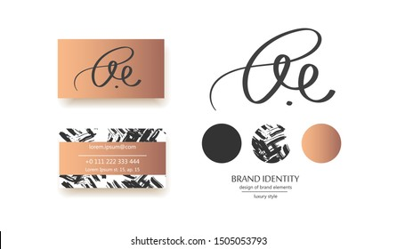 Creative monogram - hand drawn calligraphy sign. Can be used as a logo. It at the same time can mean B and E, or  A U letter combination. Vector illustration.