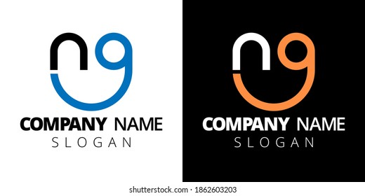 Creative monogram logo template. Letter NG isolated on white and black background. Vector concept for stock.
