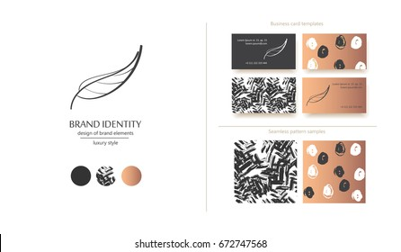 Creative monogram - sophisticated leaf logo. Botanical logo for your brand. Set contains two business card designs and two seamless patterns. Vector illustration.