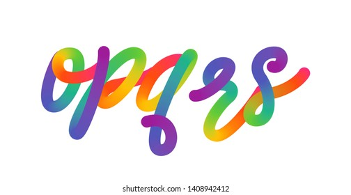 Creative multicolor letters o, p, q, r, s logo design vector template. Rainbow cursive font isolated on white background. Vector of stylized colorful typography.