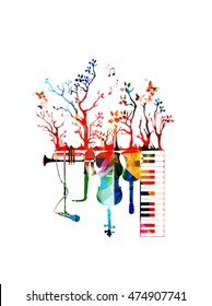 Creative music concept vector illustration, music instruments, piano keyboard, guitar, trumpet, microphone, saxophone and violoncello. Design for poster, brochure, concert, music festival, music shop