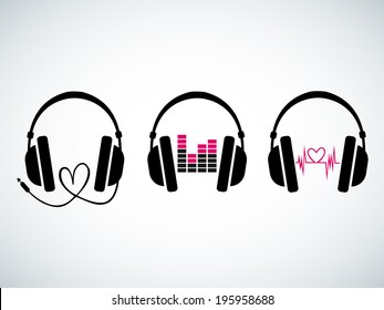 Creative music headphones logo set with heartbeat and equalizer